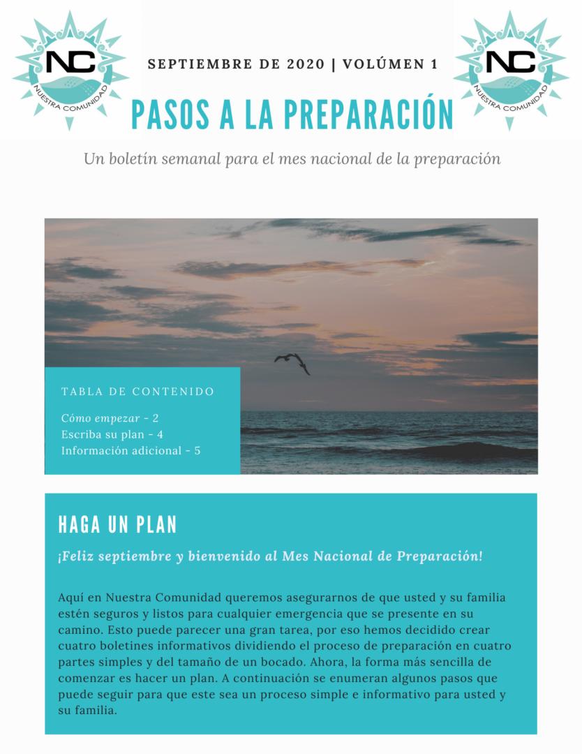 National Preparedness newsletter Volume 1, September 2020 in Spanish