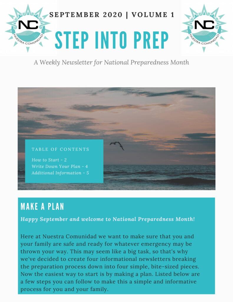 National Preparedness newsletter Volume 1, September 2020