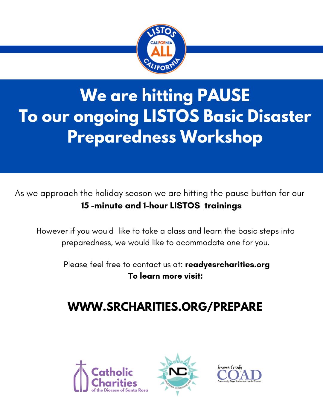 A LISTOS Basic Disaster Preparedness Workshop notice