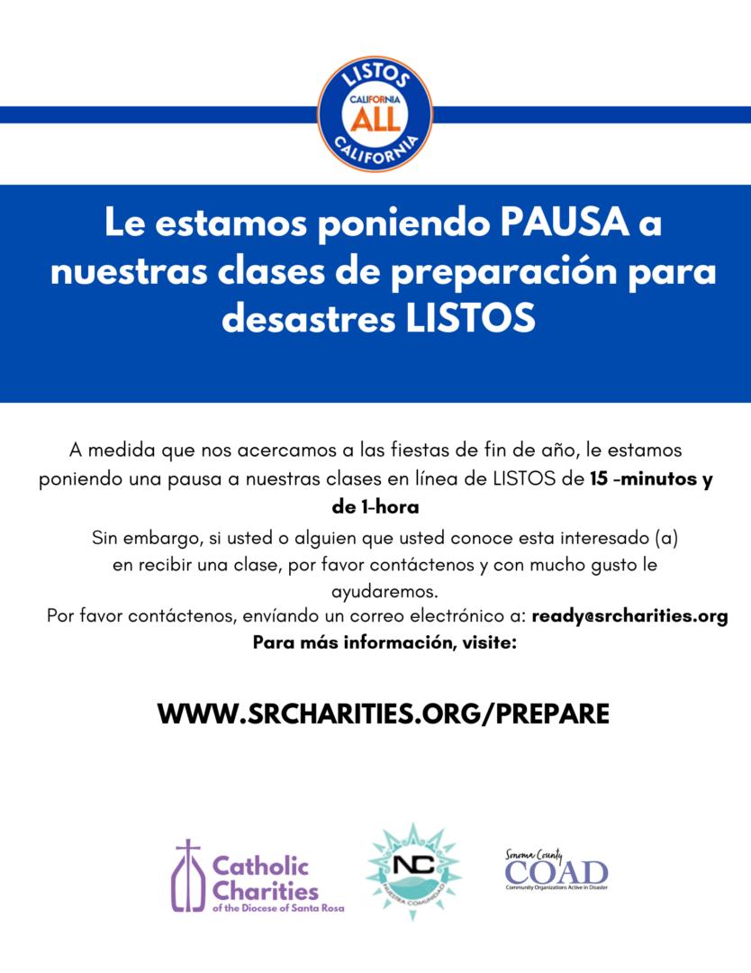 A LISTOS Basic Disaster Preparedness Workshop notice in Spanish